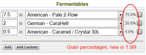 grain percentages