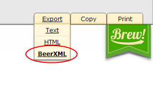 BeerXML export
