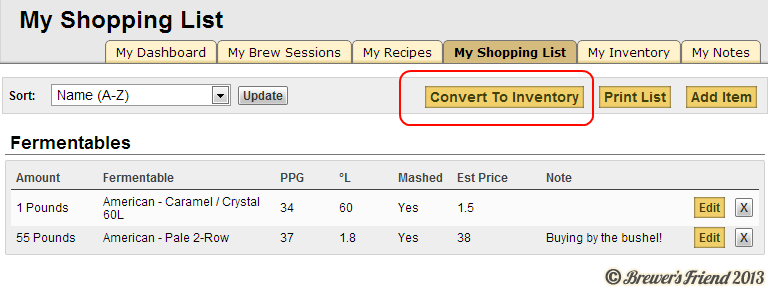Brewing Software Shopping List Tracking