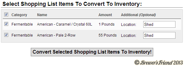 Brewing Software Shopping List Convert To Inventory