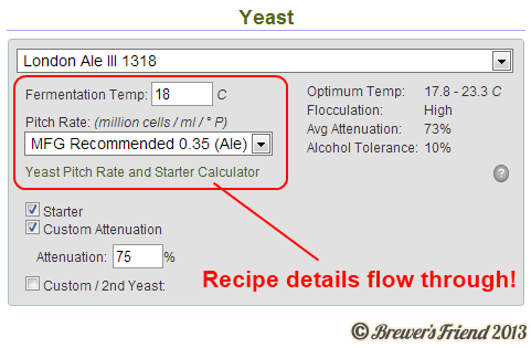 Recipe Editor Beer Yeast Pitch Rate and Yeast Temperature