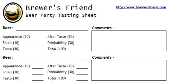 beer tasting sheet for party