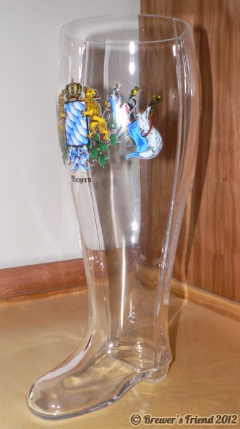 german beer boot glass