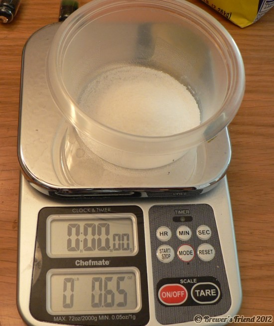 sugar solution for hydrometer calibration