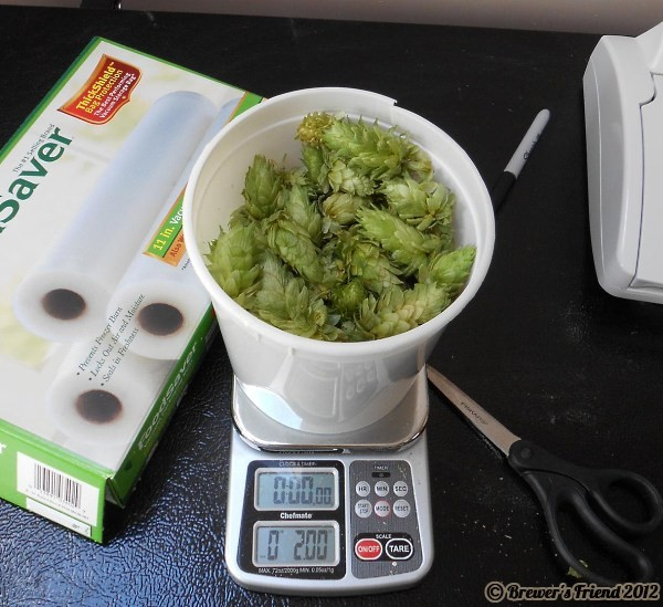 weighing out dried hops for beer brewing